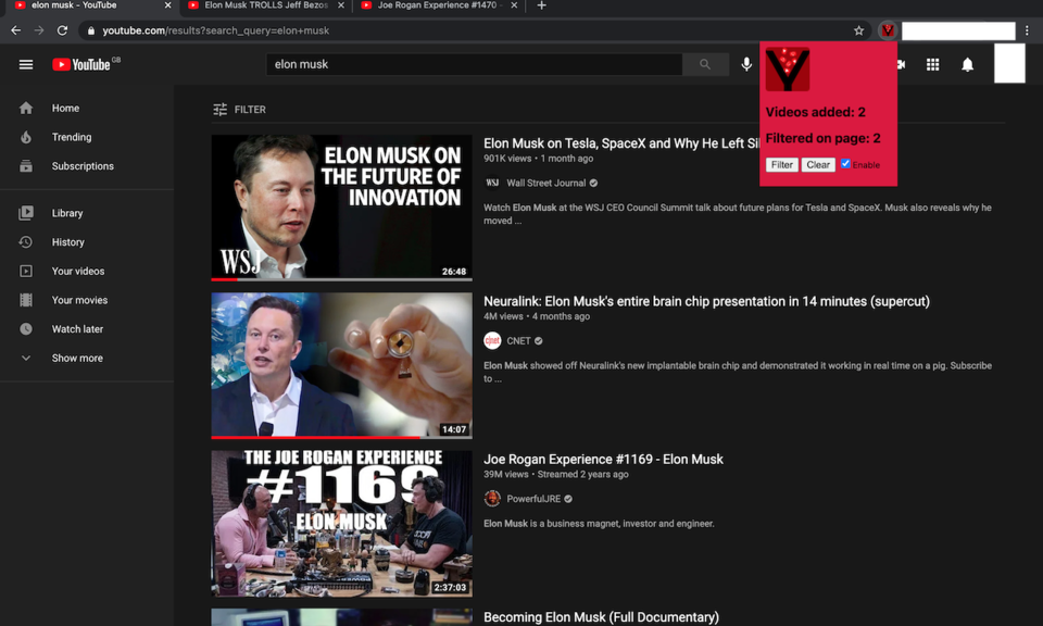 YouTube Watched Filter