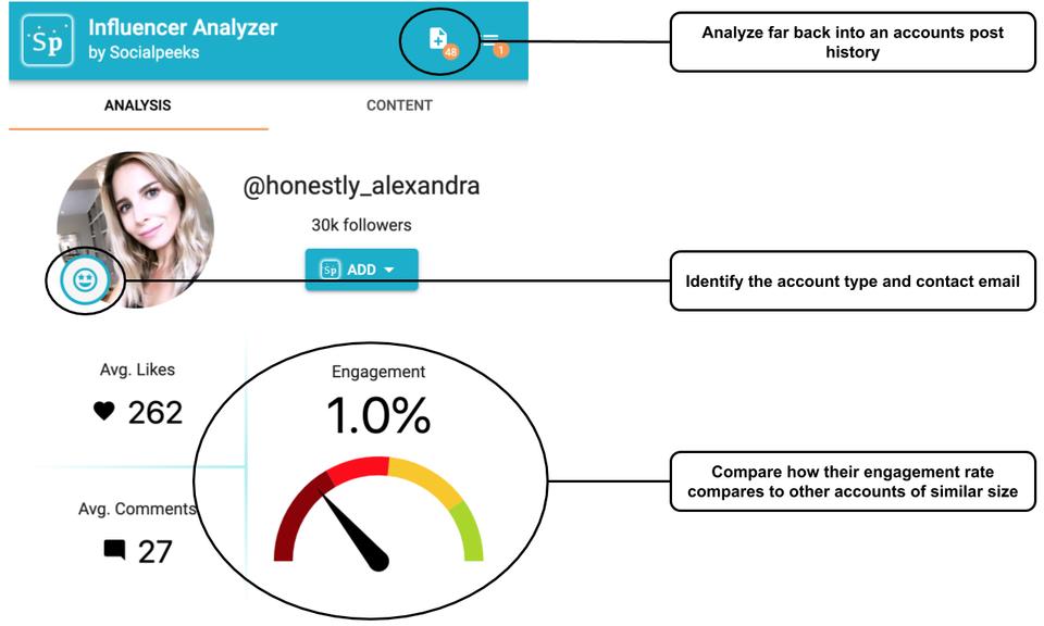 Socialpeeks Influencer Analyzer