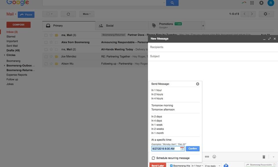 Boomerang for Gmail-定时发送与接收电子邮件