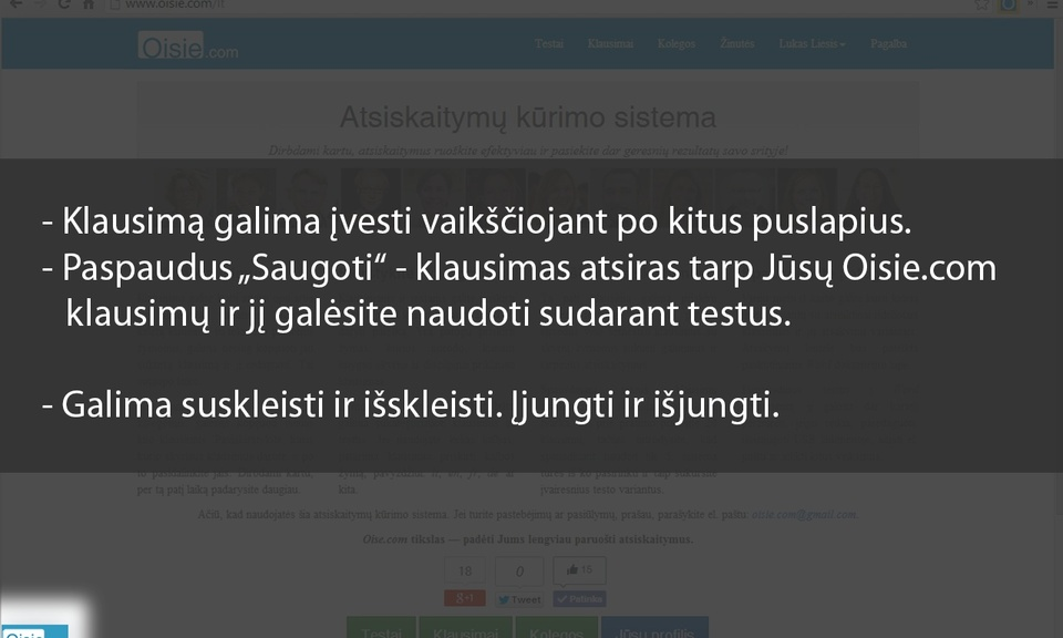 Oisie.com klausimo įvedimo forma
