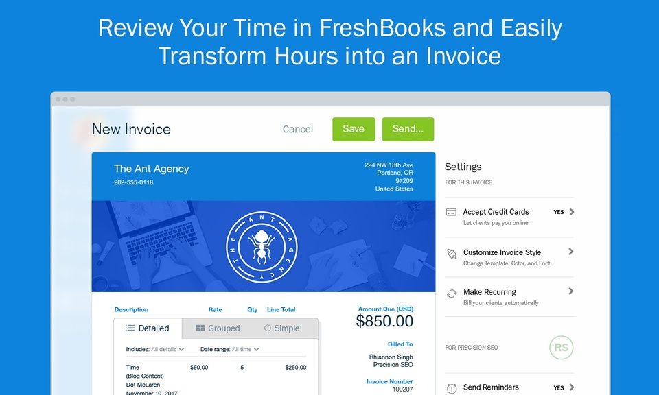FreshBooks Time Tracker