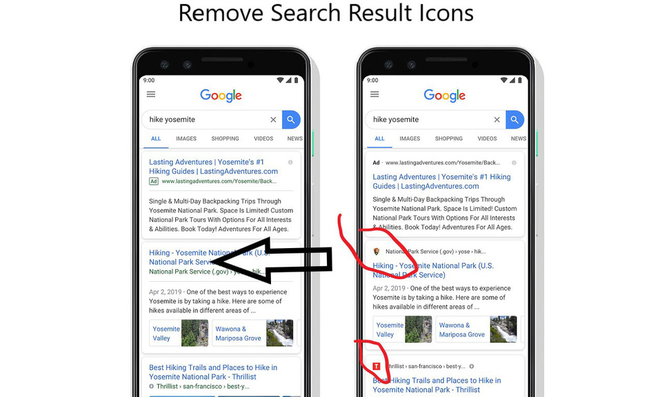 Remove Search Result Icons