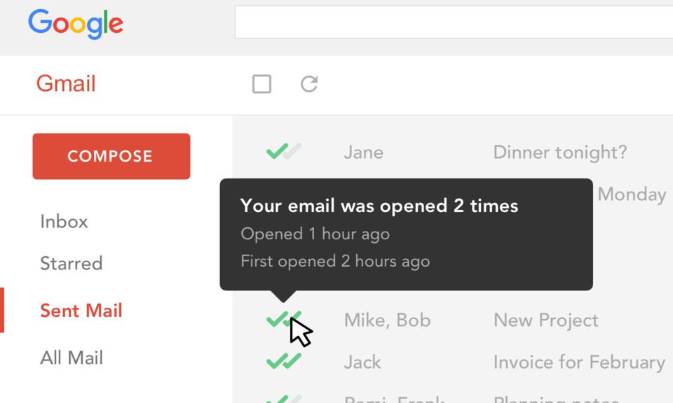 Gmail和收件箱郵件追蹤:電子郵件追蹤