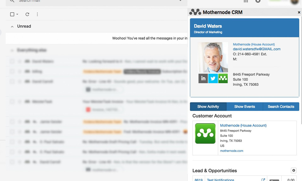 Mothernode CRM Gmail Extension