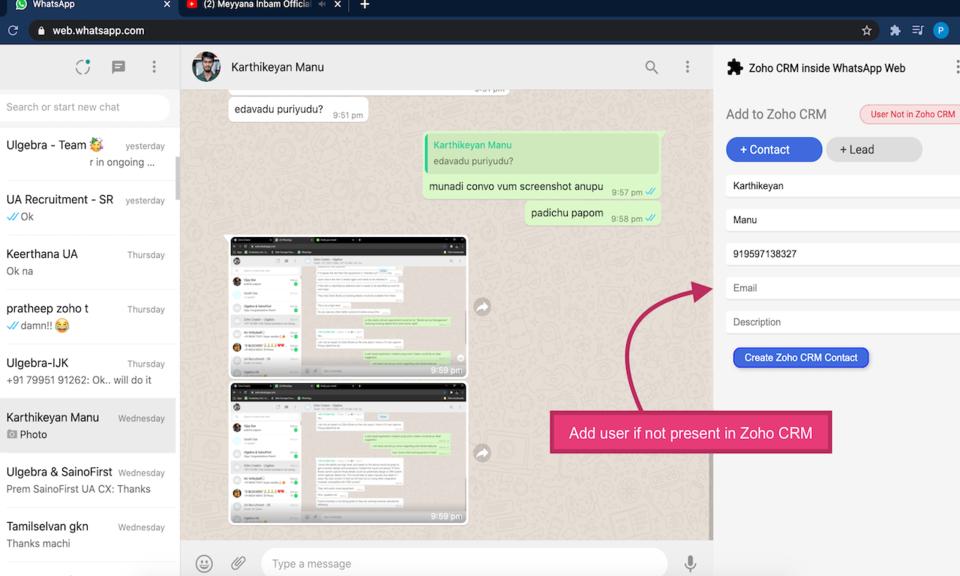 Zoho CRM inside WhatsApp Web