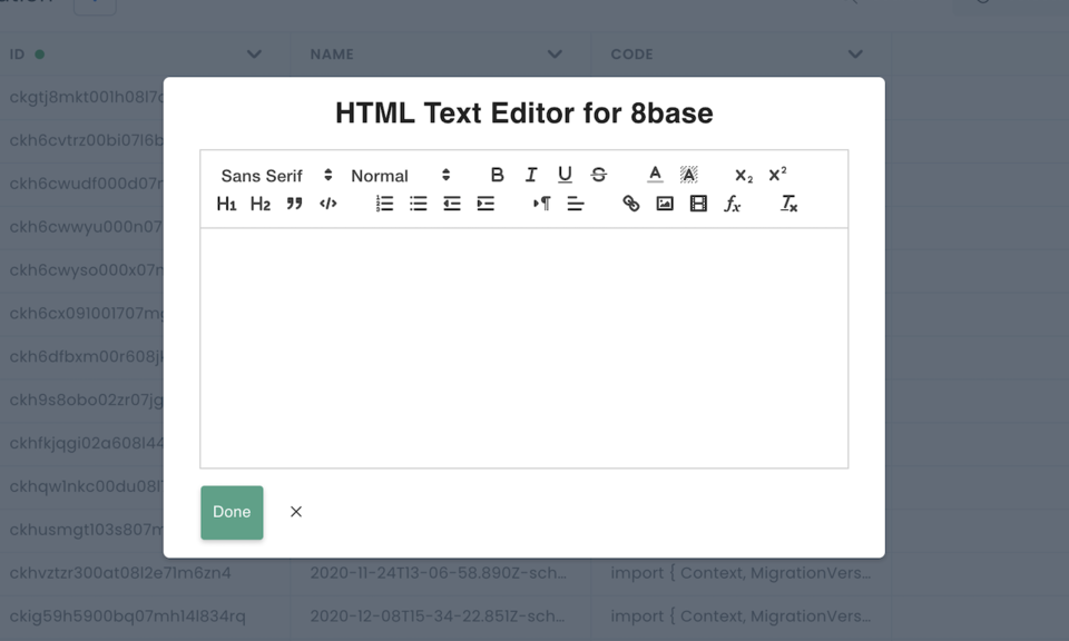 HTML Text Editor for 8base.com