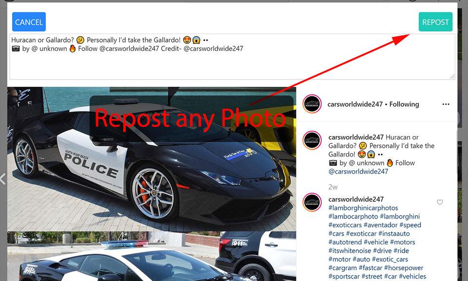 Repost Instagram from Desktop (by SocialBox)