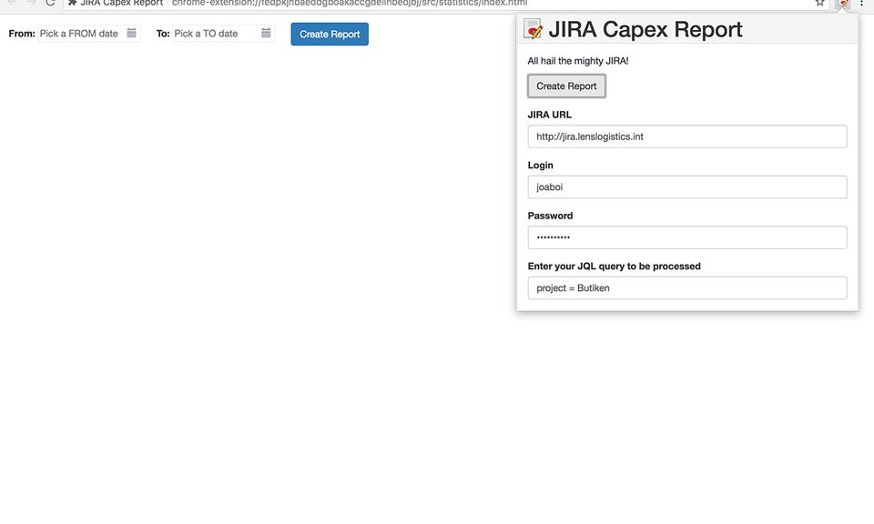 JIRA Capex Report