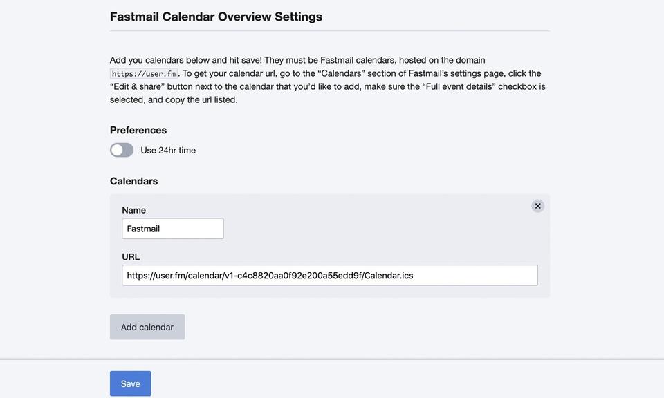 Fastmail Calendar Overview