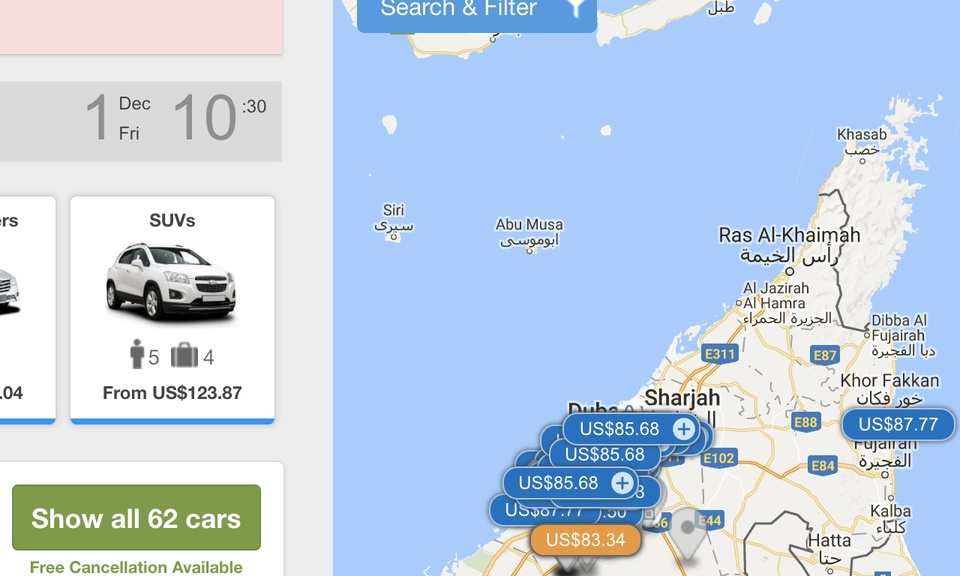 Dubai & UAE Rental Car Cheap Price Finder