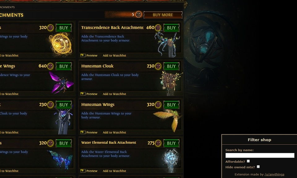 Path of Exile MTX shop filter