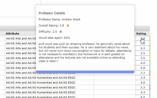 FHDA Rate My Professor Plugin