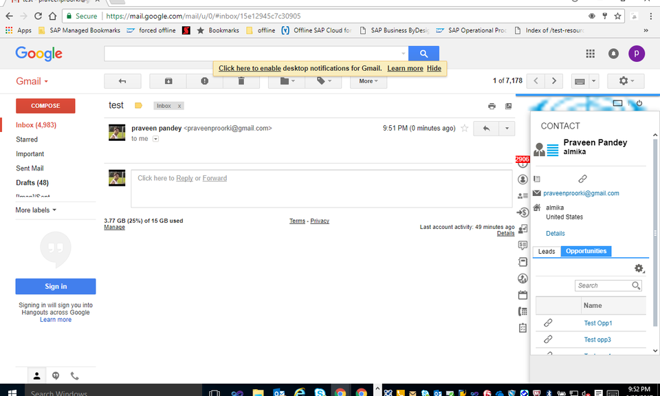 SAP Cloud for Customer Gmail Add-in