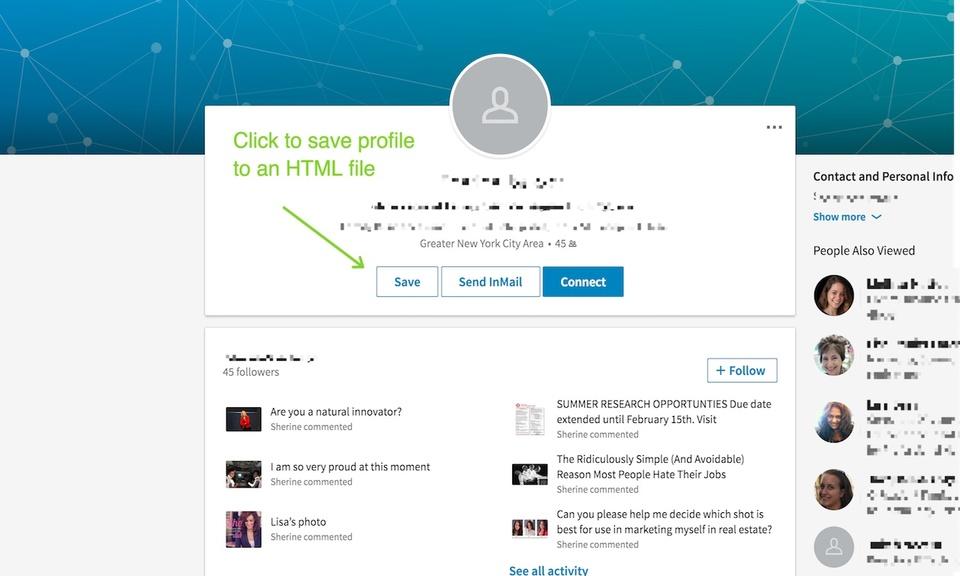 Social Media Profile Saver