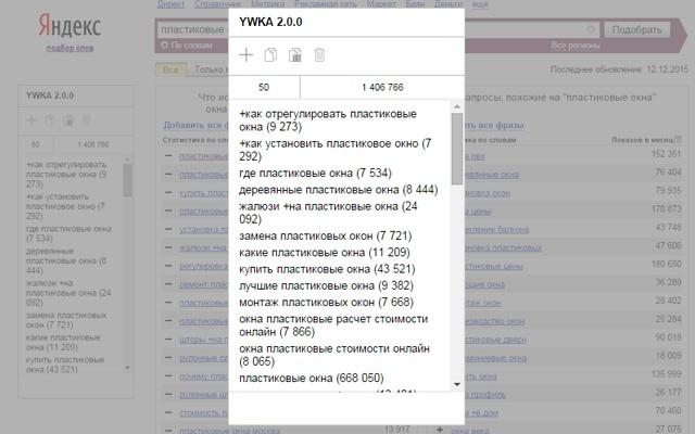 Yandex Wordstat Keywords Add