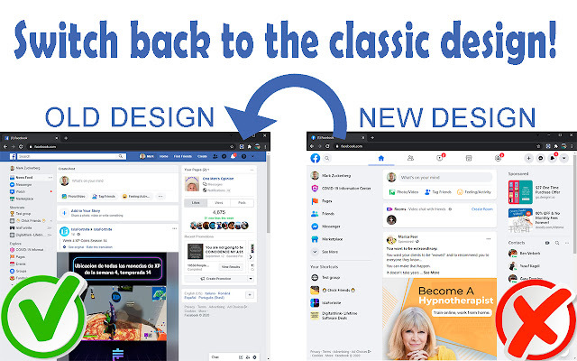 Old layout and theme on Facebook