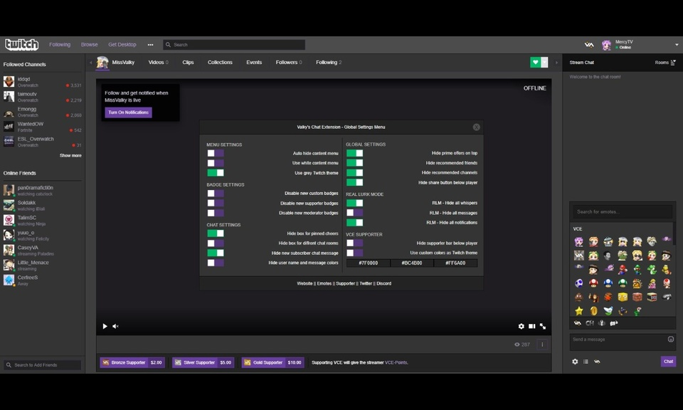Valky's Chat Extension for Twitch