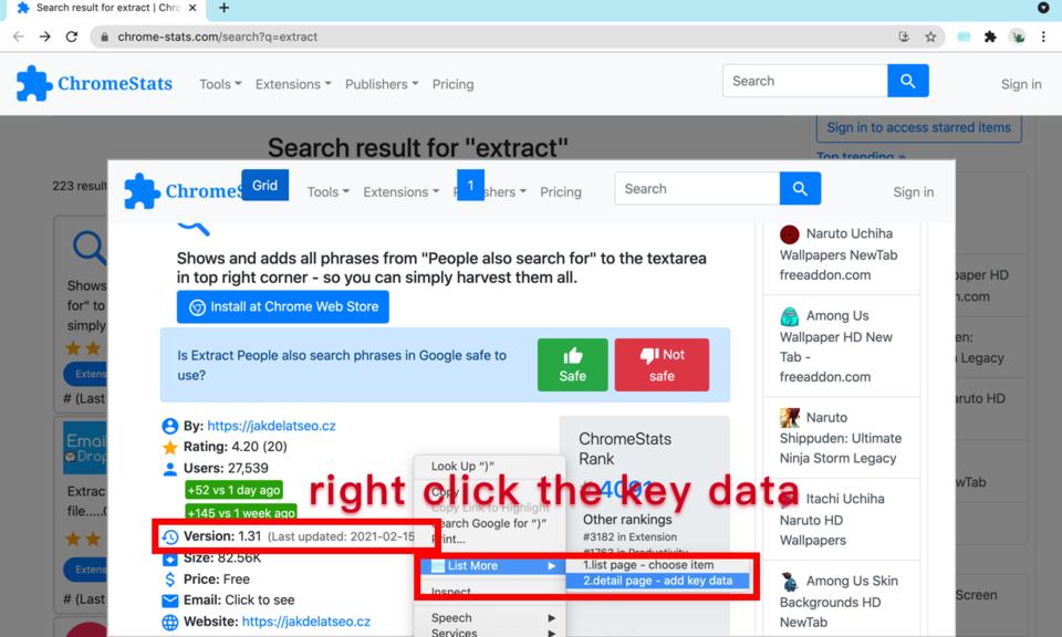 List More - extract key data from detail page