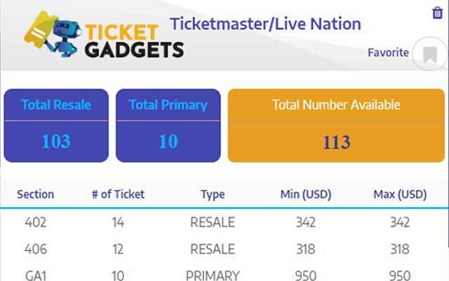 Ticket Gadgets Ticketmaster